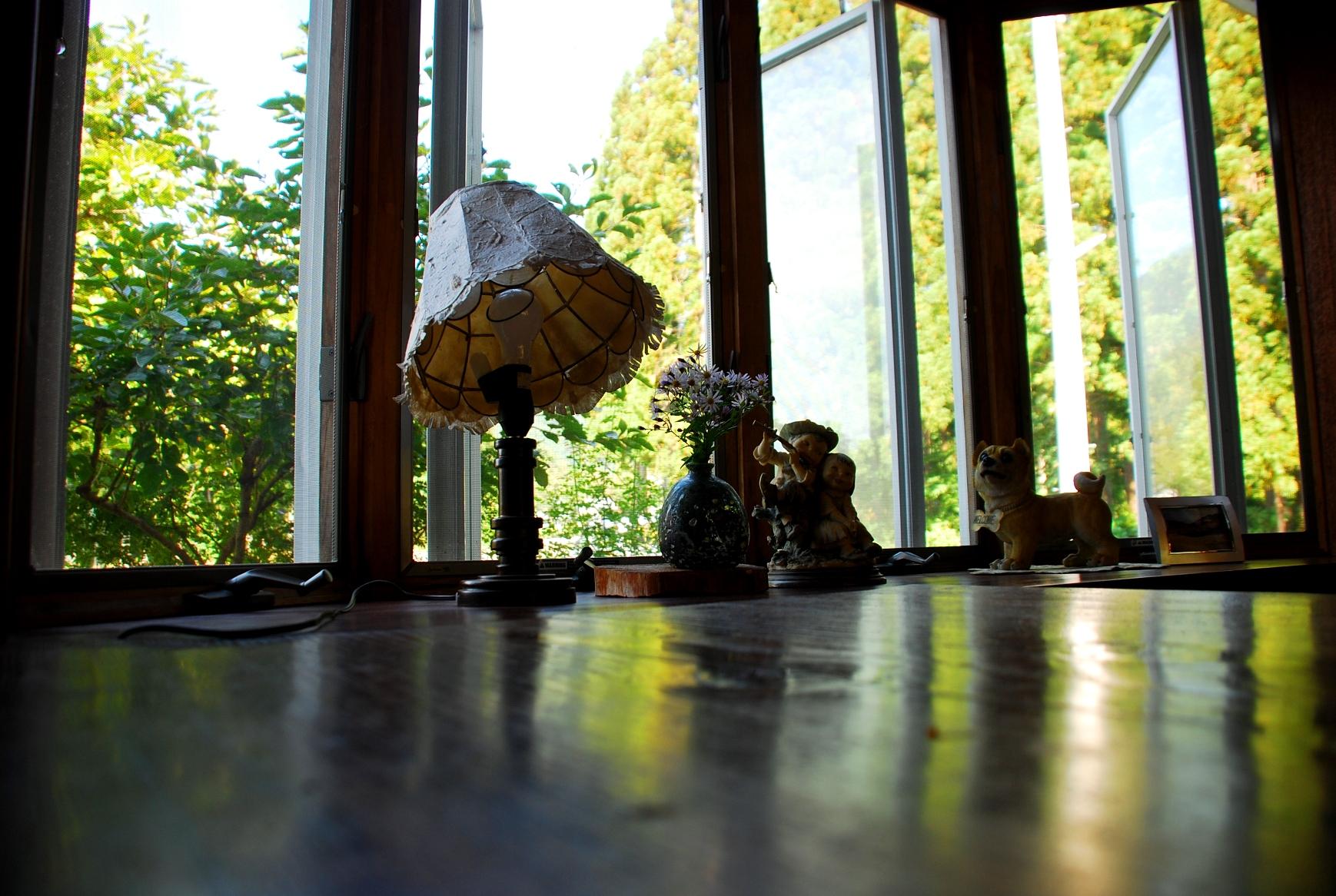 プモリのテーブルと窓